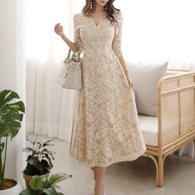 韓国ワンピース❤エレガントで可愛い装いに レースのロング丈ワンピースドレス 963780