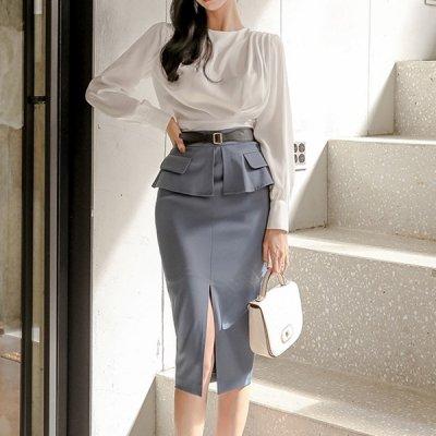 韓国セットアップ❤ブラウス&ひざ下スカートの可愛いフォーマルツーピース 963781