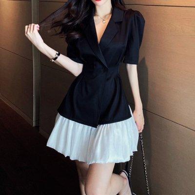 韓国セットアップ❤くびれブラウス&プリーツスカートの可愛いツーピース 963789