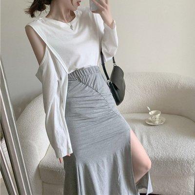 韓国セットアップ❤オープンショルダーカットソー&スカートの可愛いツーピース 963790