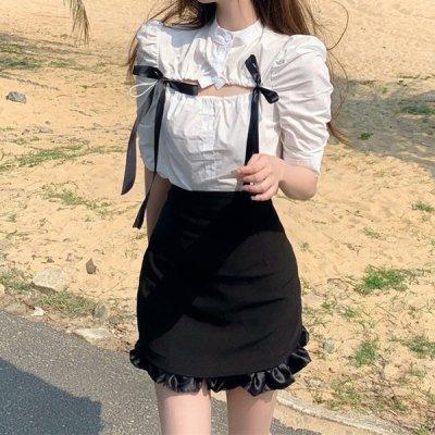 韓国セットアップ❤リボンブラウス&ミニスカートの可愛いツーピース 963800