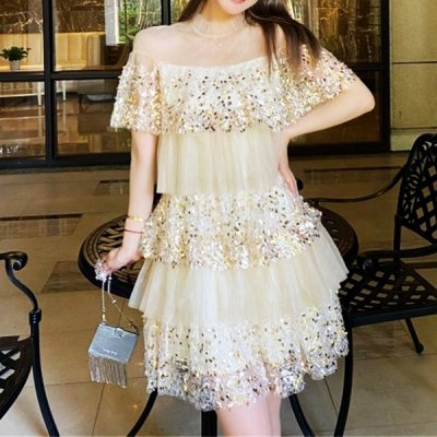 韓国ワンピース❤スパンコールを散りばめた可愛いワンピースドレス 963802