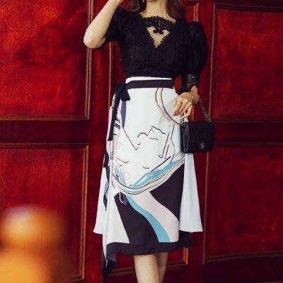 韓国セットアップ❤レースブラウス&プリントスカートの可愛いツーピース 963810