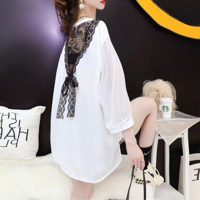 韓国トップス❤バックレースが可愛いオーバーサイズプリントTシャツ 963817