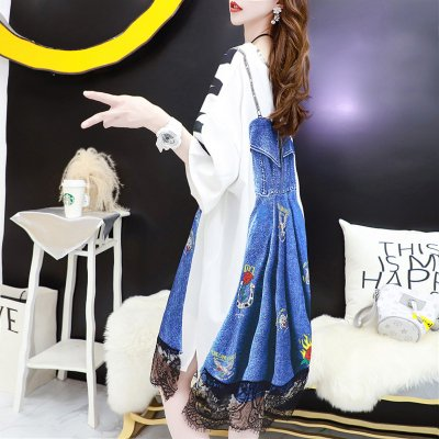 韓国ワンピース❤裾レースが可愛いデニム×Tシャツの異素材MIXワンピース 963819