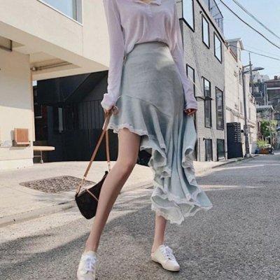 韓国ボトムス❤裾のレースが可愛らしいヘムスカート 963832