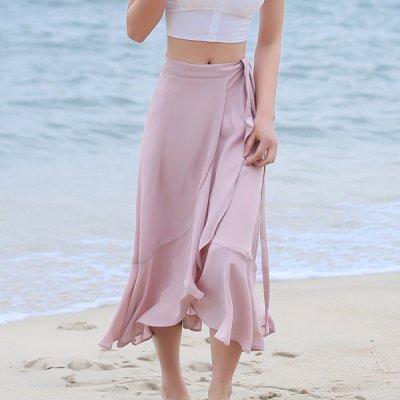 韓国ボトムス❤軽やかな履き心地で夏におススメ! 可愛いロング丈ラップスカート 963833