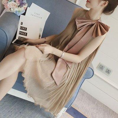 韓国ワンピース❤プリーツ&ネックリボンがエレガントで可愛いワンピースドレス 963841