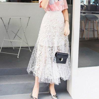 韓国スカート❤花柄レース&チュールの可愛いコンビスカート 963857