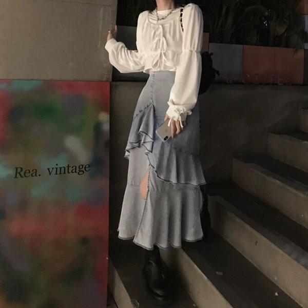 韓国スカートのデニムスカート
