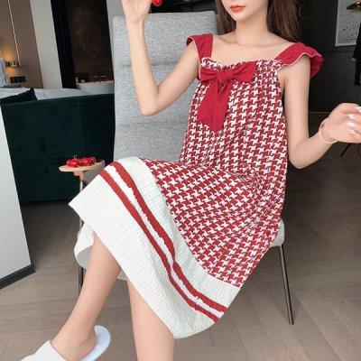 韓国ナイトウェア❤チェック柄&リボンがガーリーな可愛いルームウェアワンピース 963865