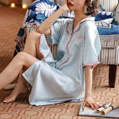 韓国ナイトウェア❤サテンが大人っぽい可愛いルームウェアシャツワンピース 963867