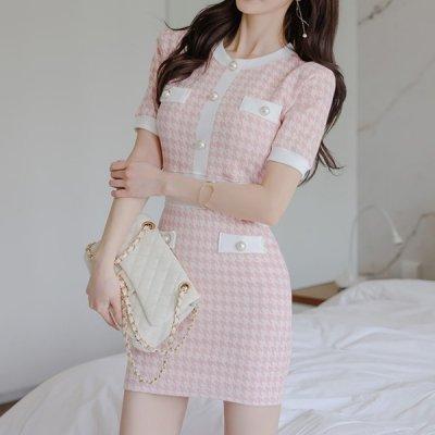 韓国ワンピース❤淡いピンクカラーがフェミニンな可愛いニットワンピース 963870