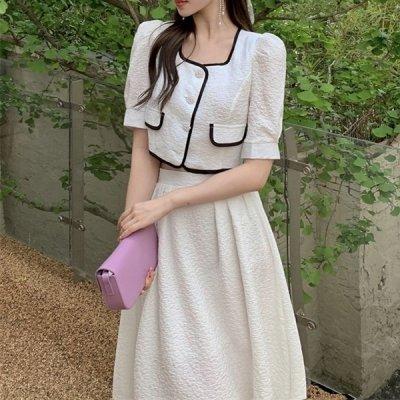 韓国セットアップ❤パフスリーブトップス&フレアスカートの可愛いツーピース 963888