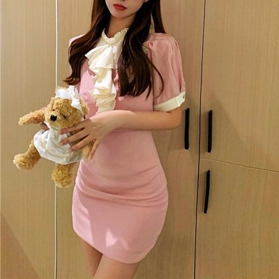 韓国ワンピース❤バイカラーのフリルが可愛いミニワンピース 963896