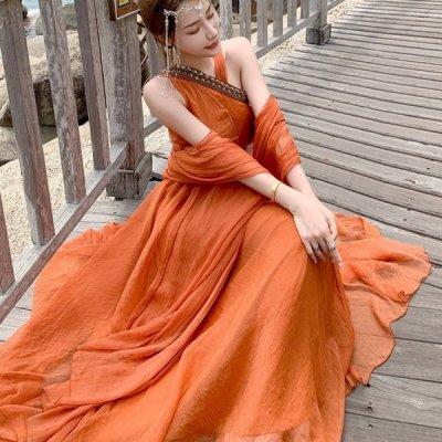 韓国ワンピース❤アシメデザインの可愛い民族風ロングワンピース 963906