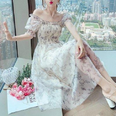 韓国ワンピース❤ふんわりシフォンの可愛い花柄ワンピース 963916