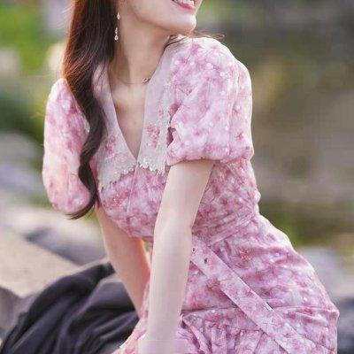 韓国ワンピース❤淡いピンク×花柄の甘めな雰囲気が可愛いショート丈ワンピース 963924