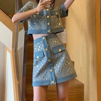 韓国セットアップ❤スパンコールのショート丈トップス&台形ミニスカートの可愛いツーピース 963925