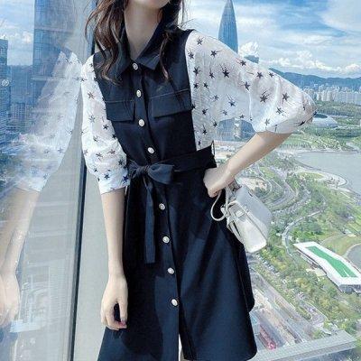 韓国ワンピース❤お袖のシアーが夏らしい可愛い異素材MIXワンピース 963928