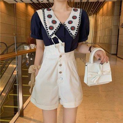 韓国セットアップ❤ビッグ襟ブラウス&サロペットの可愛いツーピース 963930