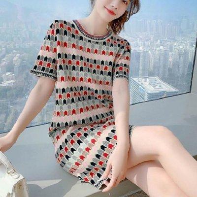 韓国ワンピース❤鮮やかな配色が可愛いカラフルワンピース 963931