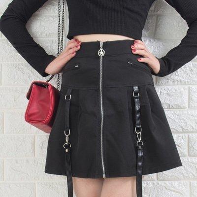 韓国ボトムス❤サスペンダー付きのゴシック系スカート 963945