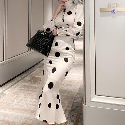韓国セットアップ❤スリット入りトップス&ロングスカートの可愛いツーピース 963991