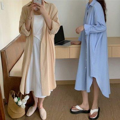 韓国ワンピース❤羽織としても使える可愛い量産型シャツワンピース 964010