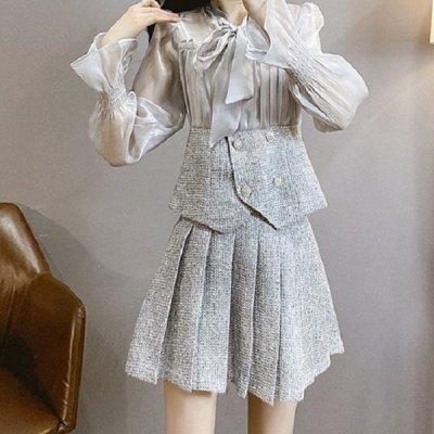 韓国セットアップ❤ブラウストップス&プリーツミニスカートのお嬢様系ツーピース 964051