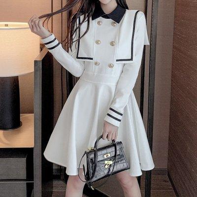 韓国ワンピース❤セーラー襟のお嬢様系可愛いワンピース 964055