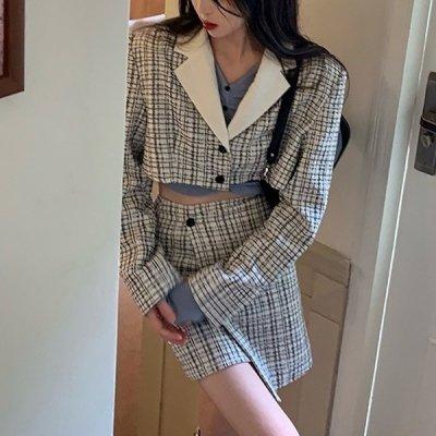 韓国セットアップ❤ツイード素材ジャケット&ミニスカートの可愛い量産型ツーピース 964063