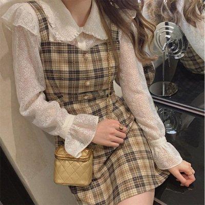 韓国セットアップ❤ラッフルレースブラウス&チェック柄ワンピースの可愛いお嬢様系ツーピース 964064