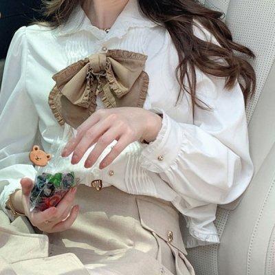 韓国トップス❤フリルリボン付きのお嬢様系ブラウス 964066