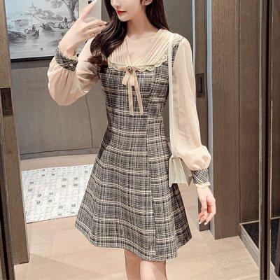 韓国ワンピース❤レース襟の可愛いお嬢様系フレアワンピース 964067