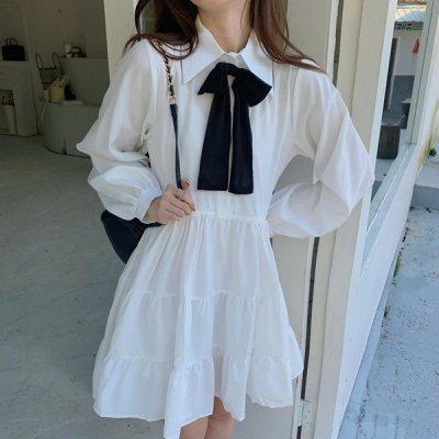 韓国ワンピース❤バイカラーリボンが可愛いお嬢様系ふんわりワンピース 964069
