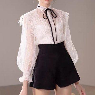 韓国セットアップ❤レースブラウス&ショートパンツの可愛いお嬢様系ツーピース 964075