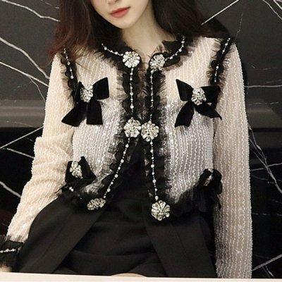 韓国アウター❤リボンとクリスタルビジューが可愛いお嬢様系シアーカーディガン 964076