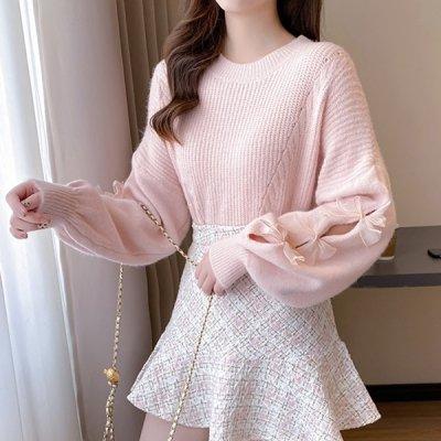 韓国トップス❤ボリューム袖&リボンがガーリーなゆめかわいいニット 964078