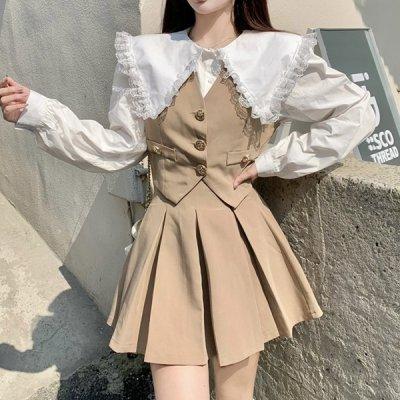 韓国セットアップ❤フリルブラウス&ベスト&ミニスカートのゆめかわいいスリーピース 964082