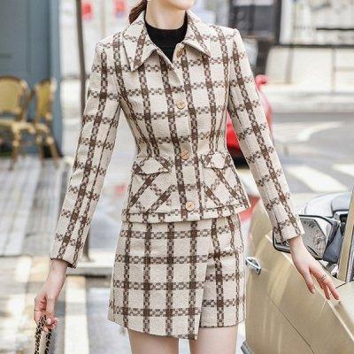 韓国セットアップ❤チェック柄のジャケット&ミニスカートの量産型ツーピース 964083