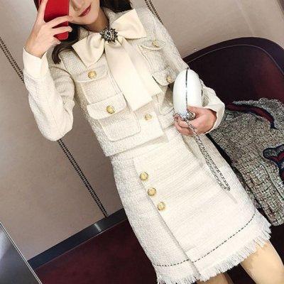 韓国セットアップ❤ツイード素材のジャケット&ミニスカートのお嬢様系ツーピース 964085