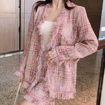 韓国セットアップ❤ジャケット&ミニスカートの可愛い韓国フリンジツイードツーピース 964086