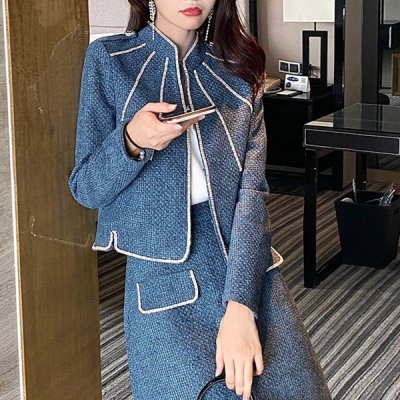 韓国セットアップ❤ビジュー付きジャケット&ミニスカートの可愛い韓国フォーマルツーピース 964087
