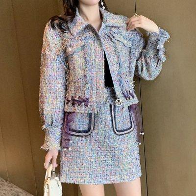 韓国セットアップ❤レースリボンジャケット&ミニスカートの可愛い韓国ツイードツーピース 964089
