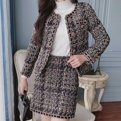 韓国セットアップ❤ノーカラージャケット&ミニスカートの可愛い韓国ツーピース 964091