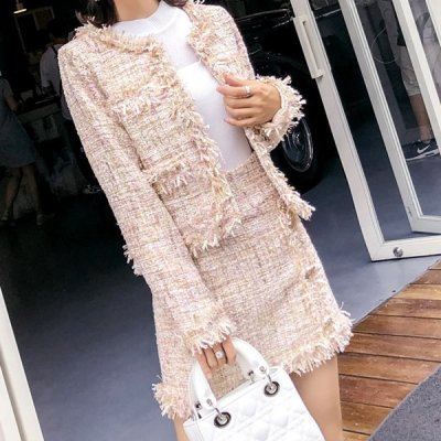 韓国セットアップ❤フリンジデザインのジャケット&ミニスカートの可愛い韓国ツーピース 964092