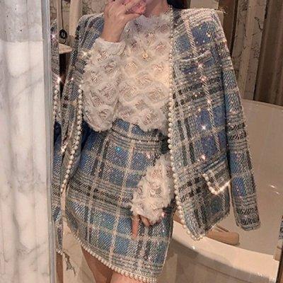 韓国セットアップ❤縁取りパールが可愛いジャケット&ミニスカートの韓国ツーピース 964093