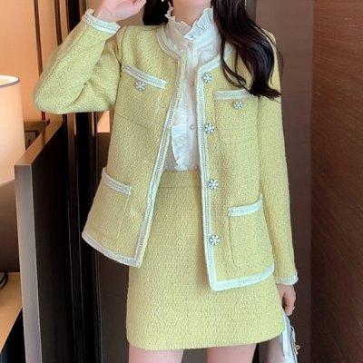 韓国セットアップ❤ノーカラージャケット&ミニスカートの可愛い韓国フォーマルツーピース 964095