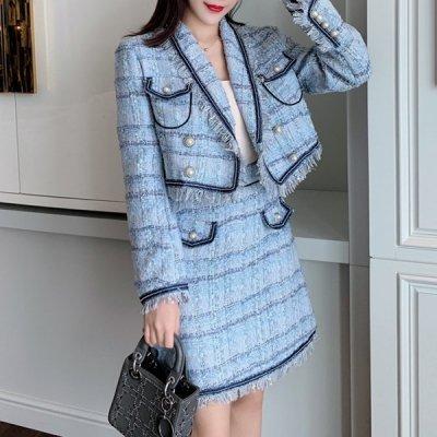 韓国セットアップ❤フリンジデザインのジャケット&ミニスカートの可愛い韓国ツーピース 964097